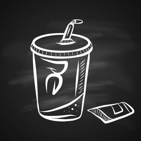 Hand Drawn Chalk Sketch on Blackboard of Soda. A Cup of Tasty Soda