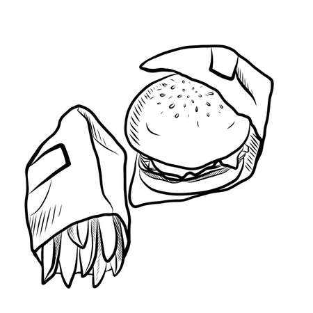 Hand Drawn Sketch of Tasty Hamburger with Tomato Sauce, Cheese and Meat and salty French Fries on White Background