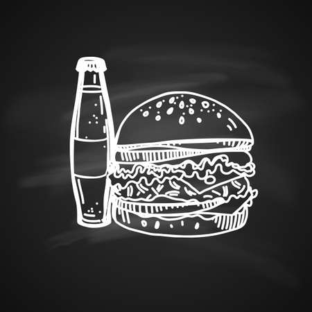 Hand Drawn Chalk Sketch on Blackboard of Fast Food. Tasty Cheeseburger with Soda Bottle Illustration