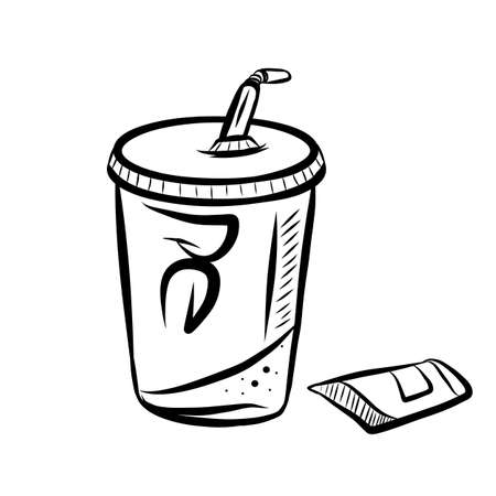Hand drawn sketch of cup of tasty soda with straw on white background. Illustration