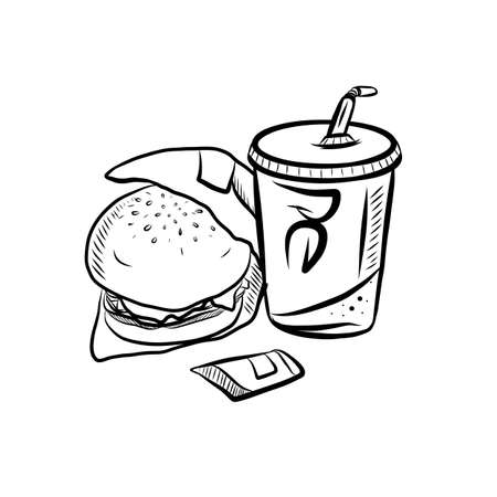 Hand Drawn Ink Sketch on White Background of Tasty Fast Food.