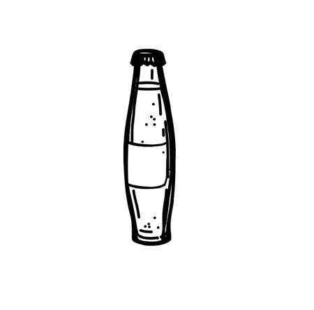 Hand Drawn Ink Sketch on White Background of a Glass of Soda. Illustration for Design Illustration