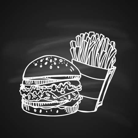 Hand drawn chalk sketch of fast food. Tasty cheeseburger with a pack of salty French fries. Illustration on black.
