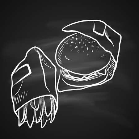 Hand Drawn Chalk Sketch on Blackboard of Fast Food. Tasty Hamburger with Tomato Sauce, Cheese and Meat and Salty French Fries