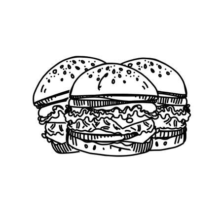 Hand Drawn Ink Sketch of Three Cheeseburger on White Background. Big Burgers with Salad, Sesame and Delicious Tomato Sauce