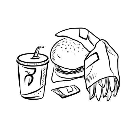Hand Drawn Ink Sketch of of Tasty Fast Food Illustration on White Background