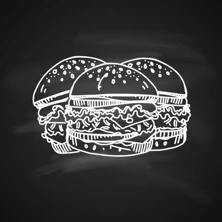 Hand drawn chalk sketch on blackboard of burgers. tasty burgers with tomato sauce, cheese and meat. Illustration on black. Illustration