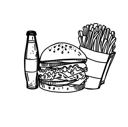 Hand Drawn Ink Sketch of Fast Food on White Background. Illustration