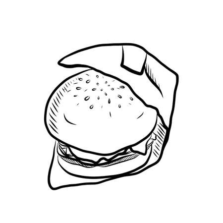 Hand Drawn Sketch of Tasty Hamburger with Tomato Sauce, Cheese and Meat on White Background