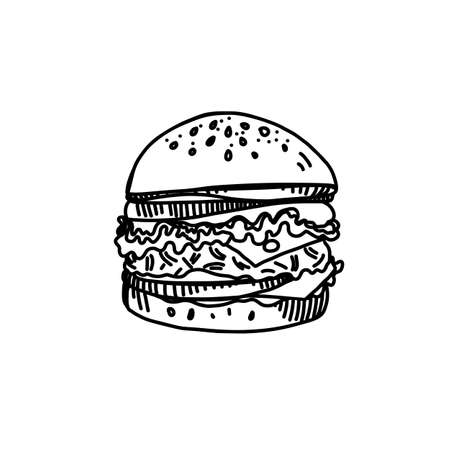Hand Drawn Ink Sketch of Big Cheeseburger with Salad, Sesame and Delicious Tomato Sauce on White Background Illustration