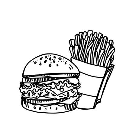Hand Drawn Ink Sketch of Tasty Cheeseburger with a Pack of Salty French Fries on White Background Illustration