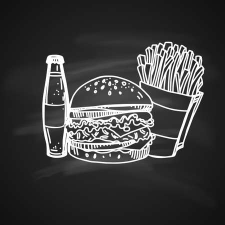 Hand Drawn Sketch on Chalkboard of Fast Food. Retro Vintage Style of Fast Food. Elements for Cooking Design Illustration