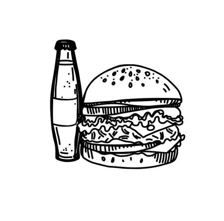 Hand Drawn Ink Sketch of Fast Food on White Background. Tasty Cheeseburger with a Glass of Soda Illustration