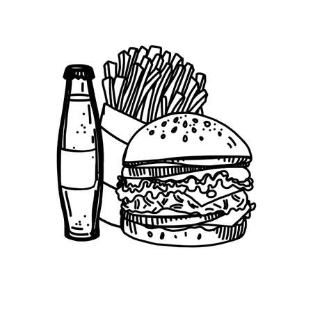 Hand Drawn Ink Sketch of Fast Food on White Background. Retro Vintage Style Illustration