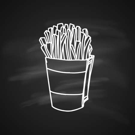 Hand Drawn Ink Sketch of Pack of salty French Fries on Blackboard Illustration