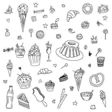 Collection of Hand Drawn Outline Desserts Meals Including Ice Cream, Cake, Candy, Lemonade, Donuts Isolated on White Background
