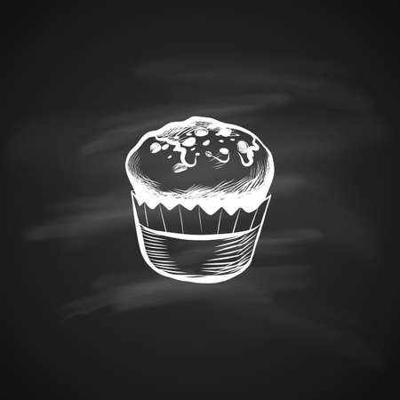Hand Drawn Icon with Muffins. Sketch Coffee Illustration In Monochrome Style on Chalkboard. Great for Label, Banner, Poster