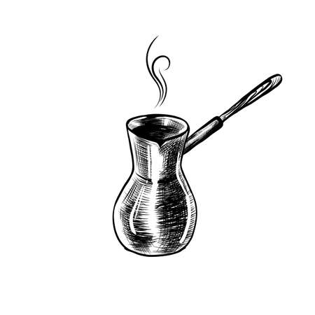 Hand Drawn Icon with Coffee Maker, Turk. Sketch Coffee Illustration In Monochrome Style. Great for Label, Banner, Poster