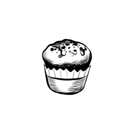 Hand Drawn Icon with Muffins. Sketch Coffee Illustration In Monochrome Style. Great for Label, Banner and Poster. Illustration