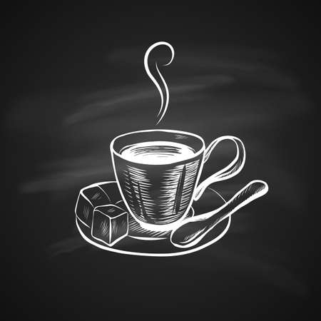 Hand Drawn Icon with Coffee Cup on Chalkboard. Sketch Coffee Illustration In Monochrome Style. Great for Label, Banner, Poster