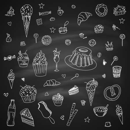 Collection of Hand Drawn Outline Desserts Meals Including Ice Cream, Cake, Candy, Lemonade, Donuts Isolated on Chalkboard