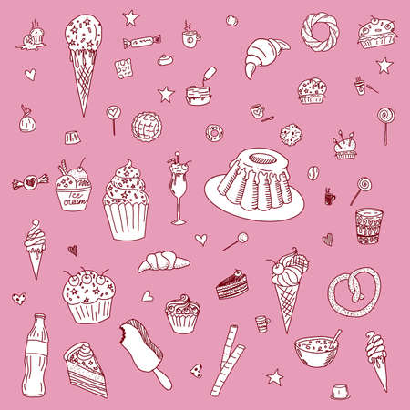 Collection of Hand Drawn Outline Desserts Meals Including Ice Cream, Cake, Candy, Lemonade, Donuts Isolated on Pink Background