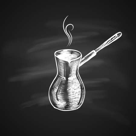 Hand Drawn Icon with Coffee Maker, Turk on Chalkboard. Sketch Coffee Illustration In Monochrome Style. Great for Label, Banner, Poster Illustration
