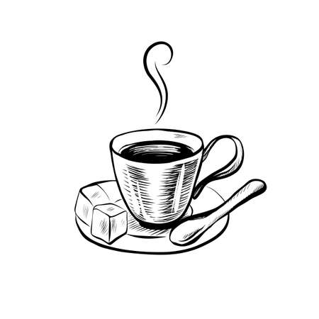 Hand Drawn Icon with Coffee Cup. Sketch Coffee Illustration In Monochrome Style. Great for Label, Banner, Poster