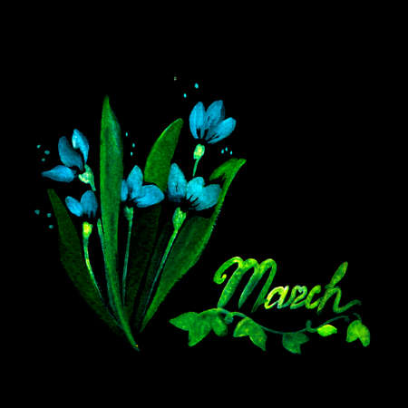 Flowers and Leaf Paintings Elements. Illustration Made of Flowers and Herbs. Spring Elements on Black Background