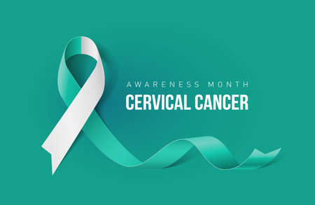 Banner with Cervical Cancer Awareness Realistic Ribbon. Design Template for Info-graphics or Websites Magazines Çizim