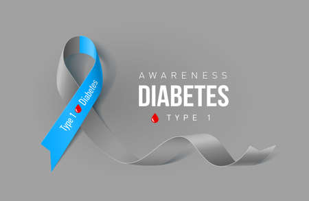 Banner with Symbol of Diabetes Type One Awareness Realistic Ribbon. Design Template for Info-graphics or Websites Magazines on Gray Background Illustration