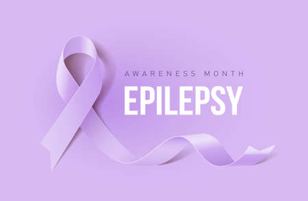 Banner with Epilepsy Awareness Realistic Ribbon. Design Template for Info-graphics or Websites Magazines Vettoriali