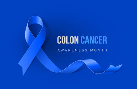 大腸癌とコロ直腸癌認識リアルなブルーリボンを持つバナー。青い背景に関するインフォグラフィックやウェブサイトマガジンのデザインテンプレ