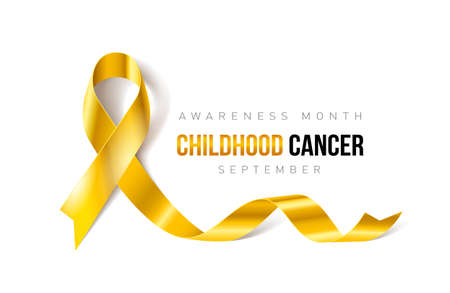 Banner with Childhood Cancer Awareness Realistic Ribbon. Design Template for Info-graphics or Websites Magazines Standard-Bild - 99285512