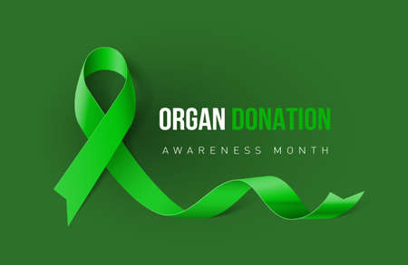 Banner with Organ Transplant and Organ Donation Awareness Realistic Green Ribbon. Design Template for Info-graphics or Websites Magazines on Green Background Vettoriali