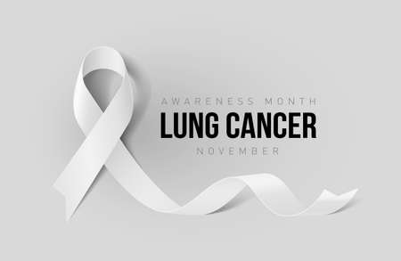 Banner with Lung Cancer Awareness Realistic White Ribbon. Design Template for Info-graphics or Websites Magazines on Gray Background Illustration