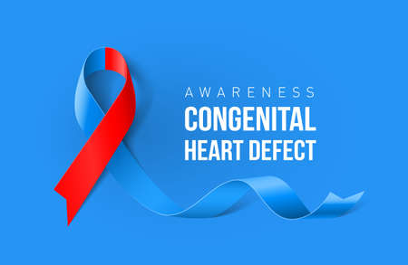 Banner with Congenital Heart Defect Awareness Realistic Ribbon. Design Template for Info-graphics or Websites Magazines Illustration