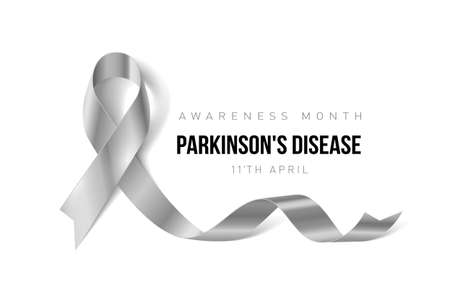 Banner with Parkinsons Disease Awareness Realistic Ribbon. Design Template for Info-graphics or Websites Magazines