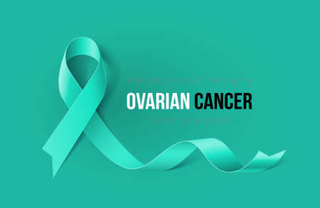 Banner with Ovarian Cancer Awareness Realistic Ribbon. Design Template for Info-graphics or Websites Magazines Çizim