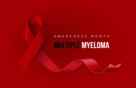 Banner with Multiple Myeloma Awareness Realistic Ribbon. Design Template for Info-graphics or Websites Magazines Illustration