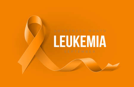Banner with Leukemia Awareness Realistic Yellow Ribbon. Design Template for Info-graphics or Websites Magazines on Yellow Background