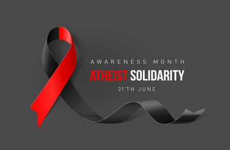 Banner with Atheist Solidarity Awareness Realistic Ribbon. Design Template for Info-graphics or Websites Magazines