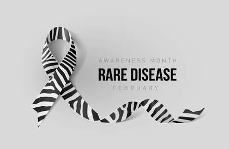 Banner with Rare Disease Awareness Realistic Ribbon. Design Template for Info-graphics or Websites Magazines Illustration