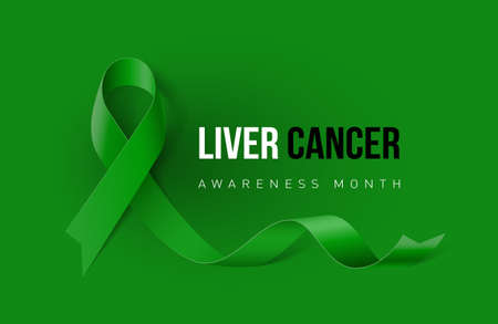 Banner with Liver Cancer Awareness Realistic Ribbon. Design Template for Info-graphics or Websites Magazines Illustration