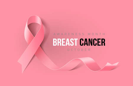 Banner with Breast Cancer Awareness Realistic Ribbon. Design Template for Info-graphics or Websites Magazines on Pink