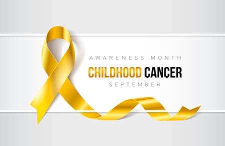 Banner with Childhood Cancer awareness realistic ribbon design template for websites and magazines.