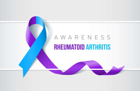 Banner with Rheumatoid Arthritis Awareness realistic ribbon design template for websites and magazines.