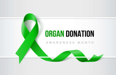 Banner with organ transplant and organ donation awareness realistic green ribbon. Design template for websites magazines.