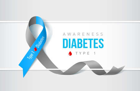 Banner with symbol of diabetes type one awareness realistic ribbon. Design template for websites magazines.