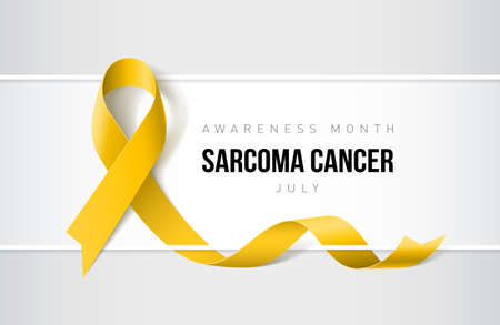 Banner with sarcoma cancer awareness realistic yellow ribbon. Design template for websites magazines. Illustration